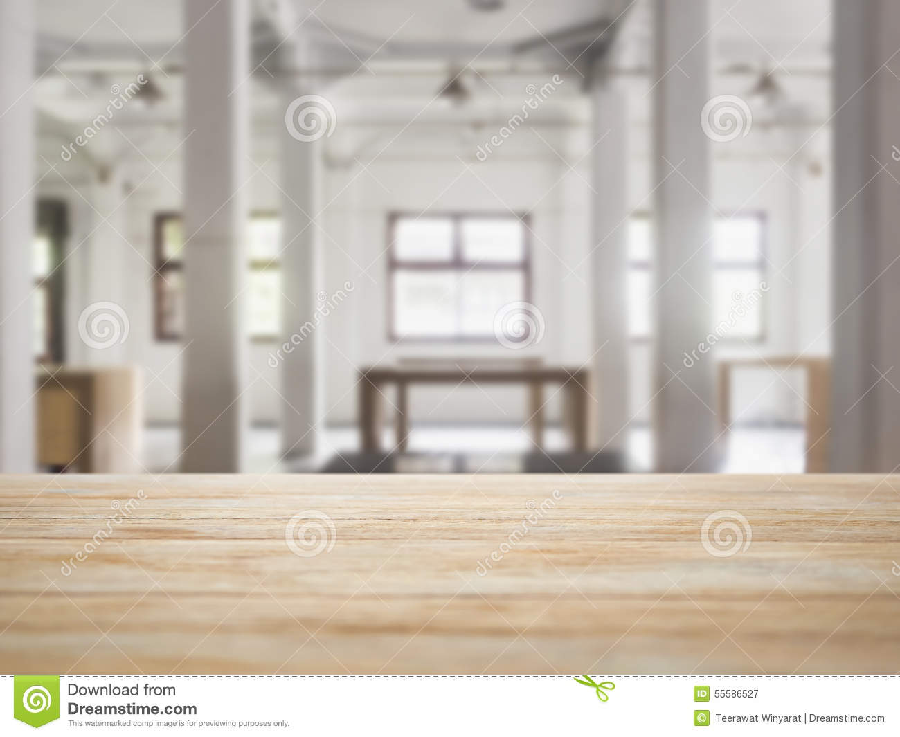 Table Top Counter With Interior Loft Space Background