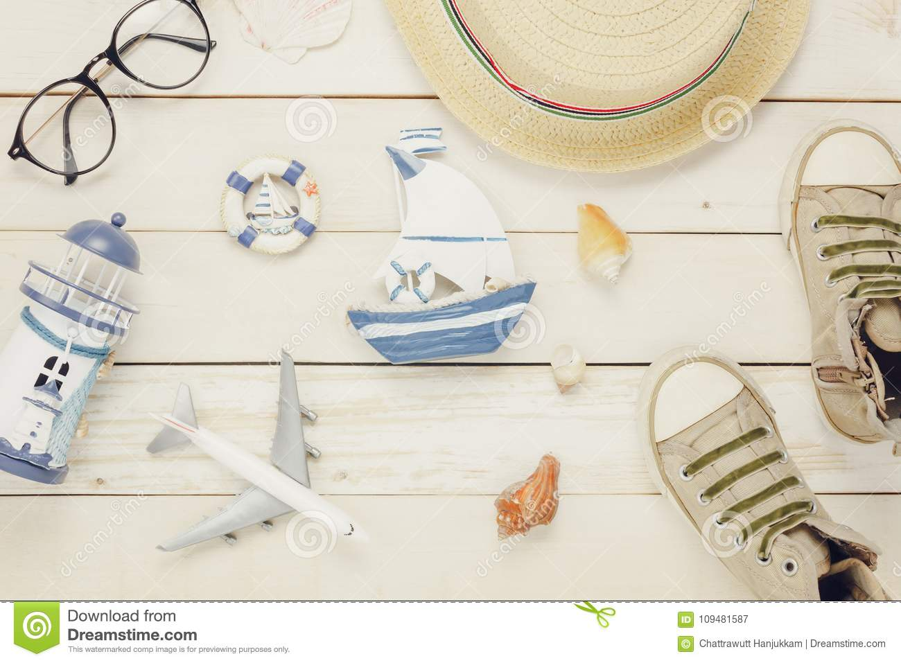 Top View Accessories To Travel Beach Stock Image Image Of
