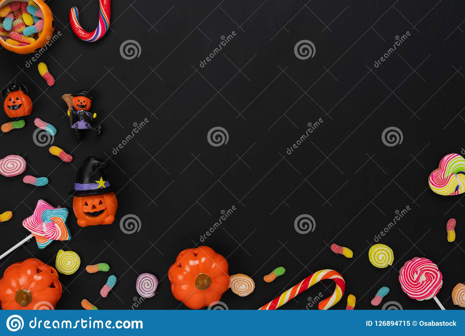 Table Top View Aerial Image Of Decoration Happy Halloween Day Background Concept Stock Image Image Of Creative Halloween 126894715