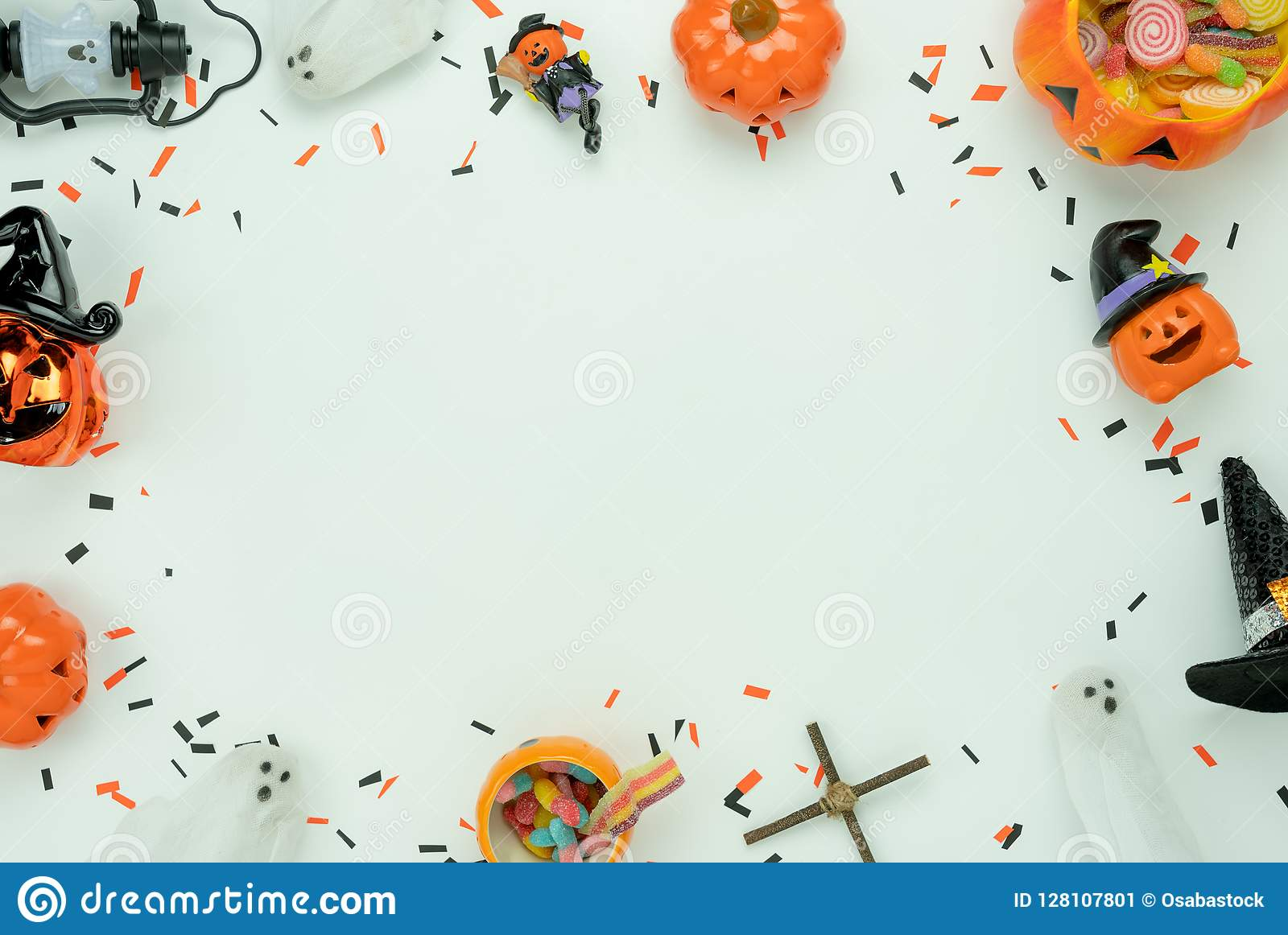 Table Top View Aerial Image Of Decoration Happy Halloween Day Background Concept Stock Image Image Of Carved Cute 128107801