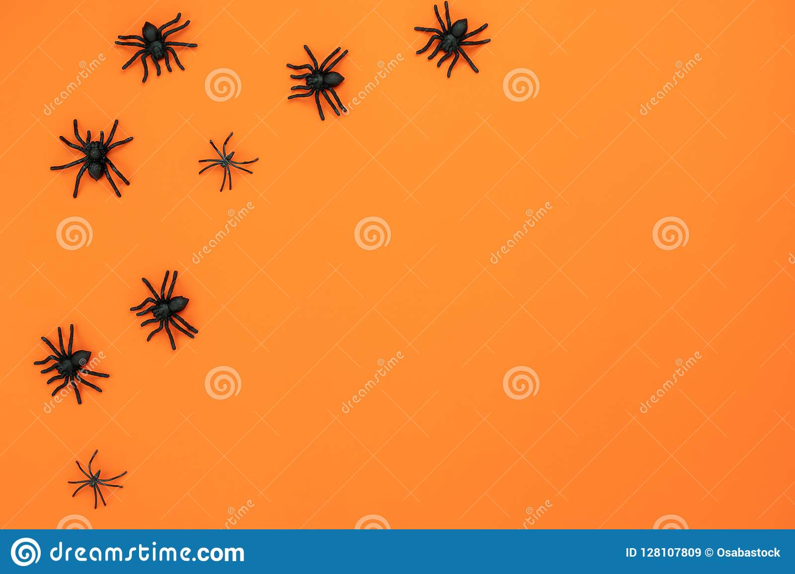 Table top view aerial image of decoration Happy Halloween day background concept.