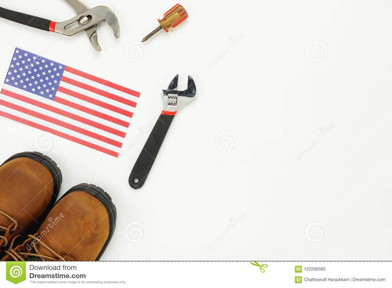 Table Top View Aerial Image Of Decoration The Sign Of USA