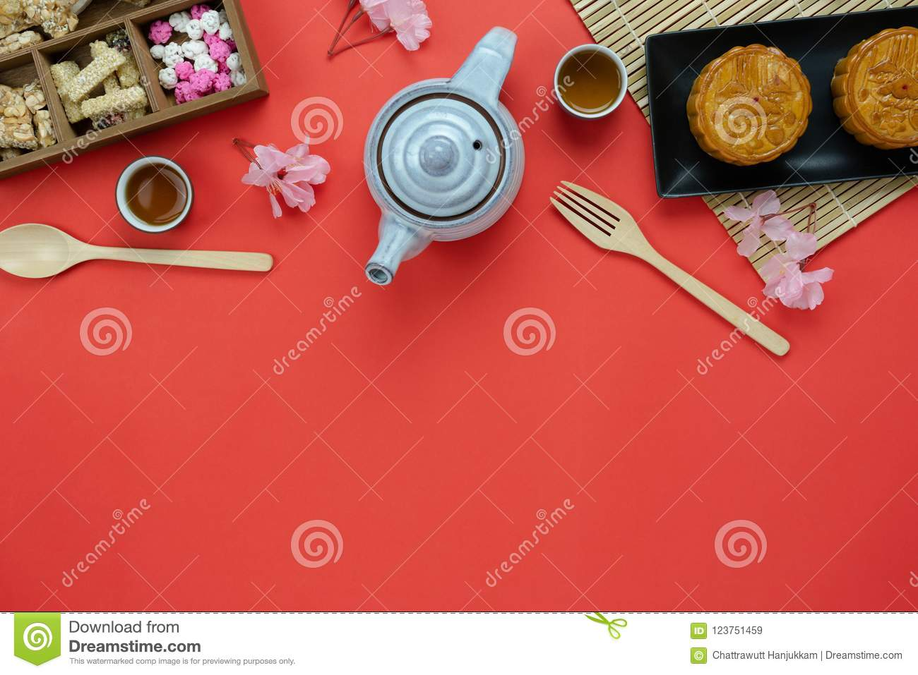 Table top view aerial image of decorations Chinese Moon Festival background