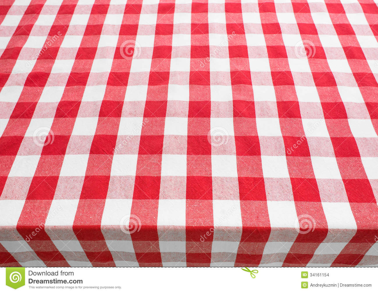 Awesome Table Top View Covered By Red Gingham Tablecloth Stock Images