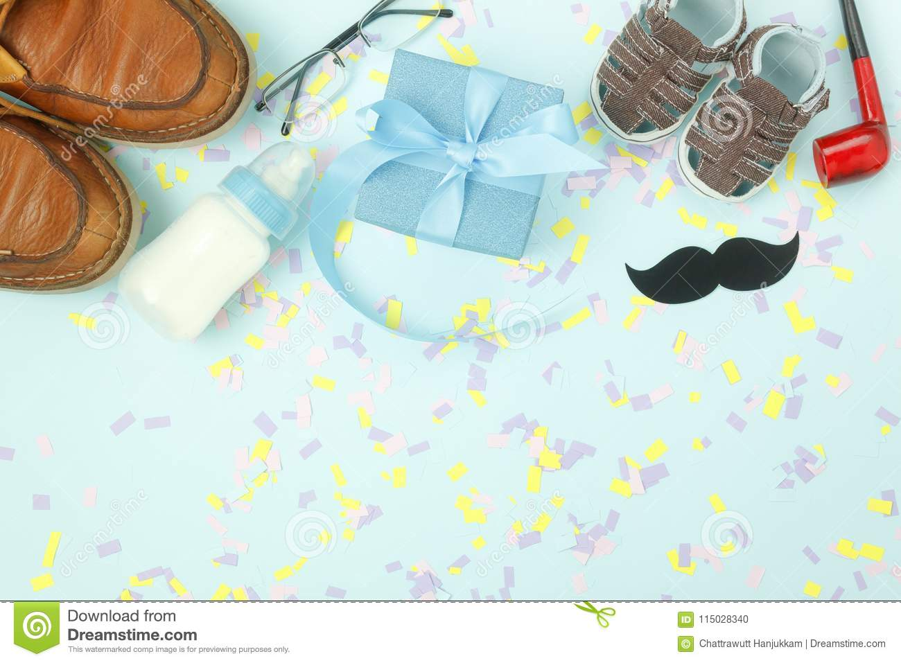 Table top view Happy Fathers day holiday background concept.