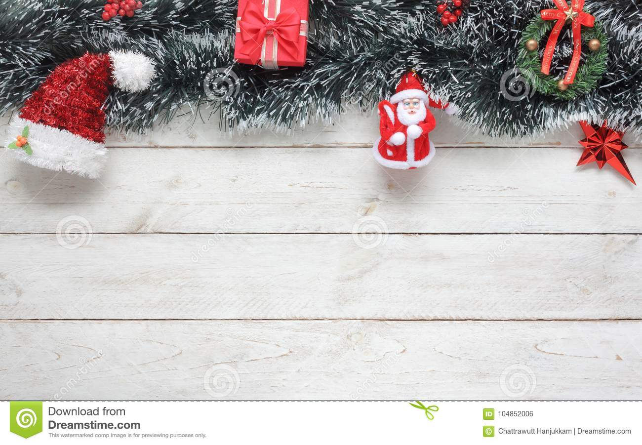 table top view image of decorations ornaments merry christmas background concept