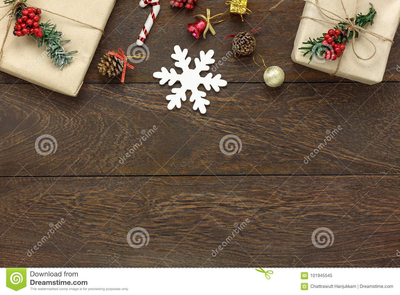 table top view of the merry christmas happy new year concept background essential festive decorations on modern brown woodcopy space for creative text or