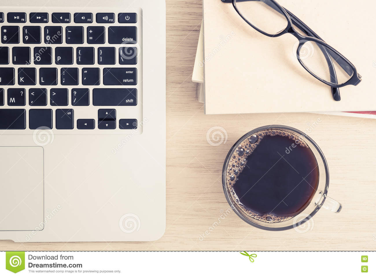 Excellent Table Top View Of Office Desk With Laptop And Coffee Stock Download Free Architecture Designs Ogrambritishbridgeorg