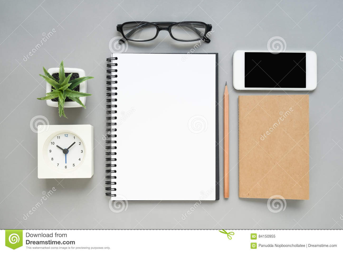 Table Top View table top view of office desk with stationery items stock photo