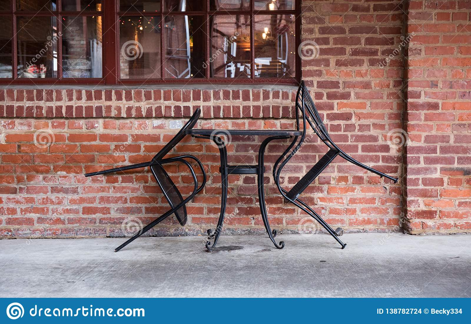Table for two. Isolated cafe seating.