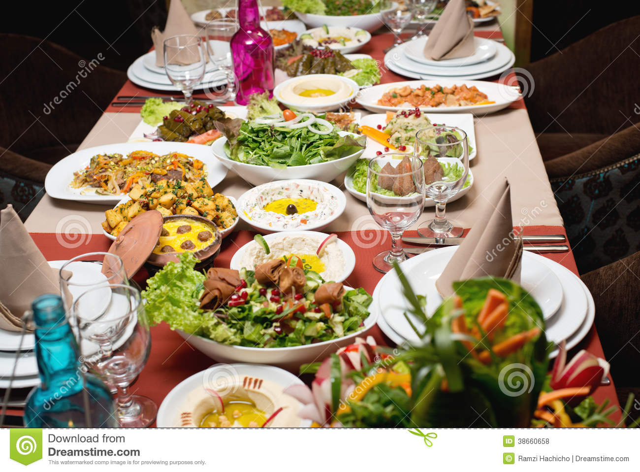 Table With Various Arabic Food Served Royalty Free Stock