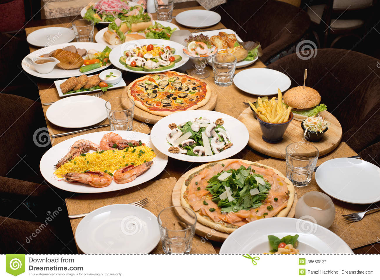 Table with various food plates served stock image image for Table snack cuisine