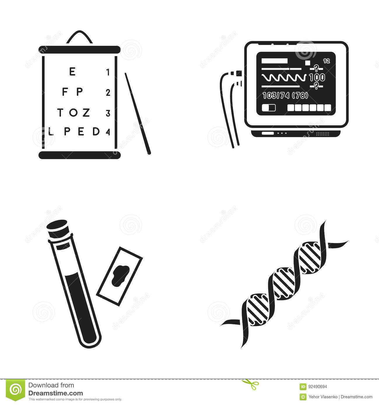 A table of vision tests a blood test a dna code an ecg a table of vision tests a blood test a dna code an ecg apparatus medicine set collection icons in black style vector buycottarizona Images