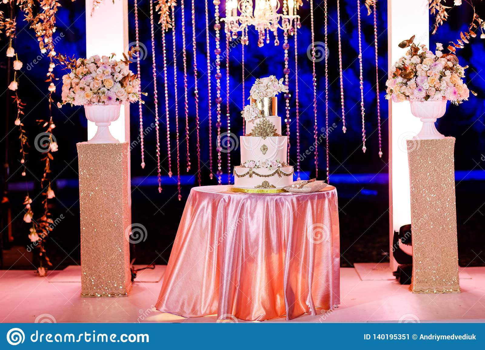 Table With A Wedding Cake Candles Light And Flowers Wedding Decoration Stock Image Image Of Beautiful Light 140195351