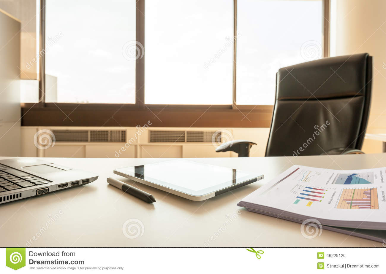 Table Work In Empty Office Room