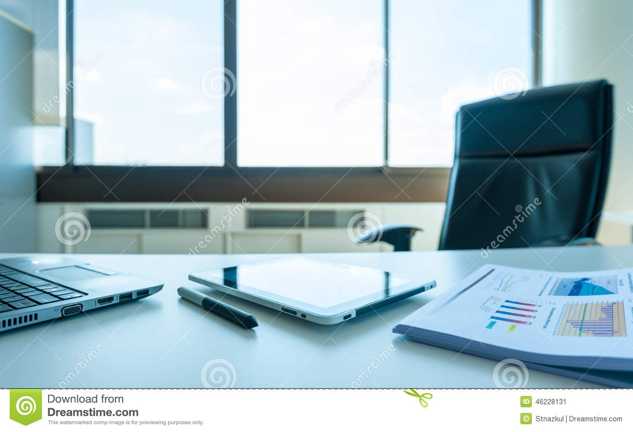 Table Work In Empty Office Room With Tablet And Report Stock Image ...