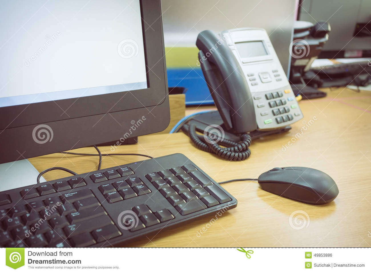 table work in office with telephone and computer stock photo image of desktop screen 49853886. Black Bedroom Furniture Sets. Home Design Ideas