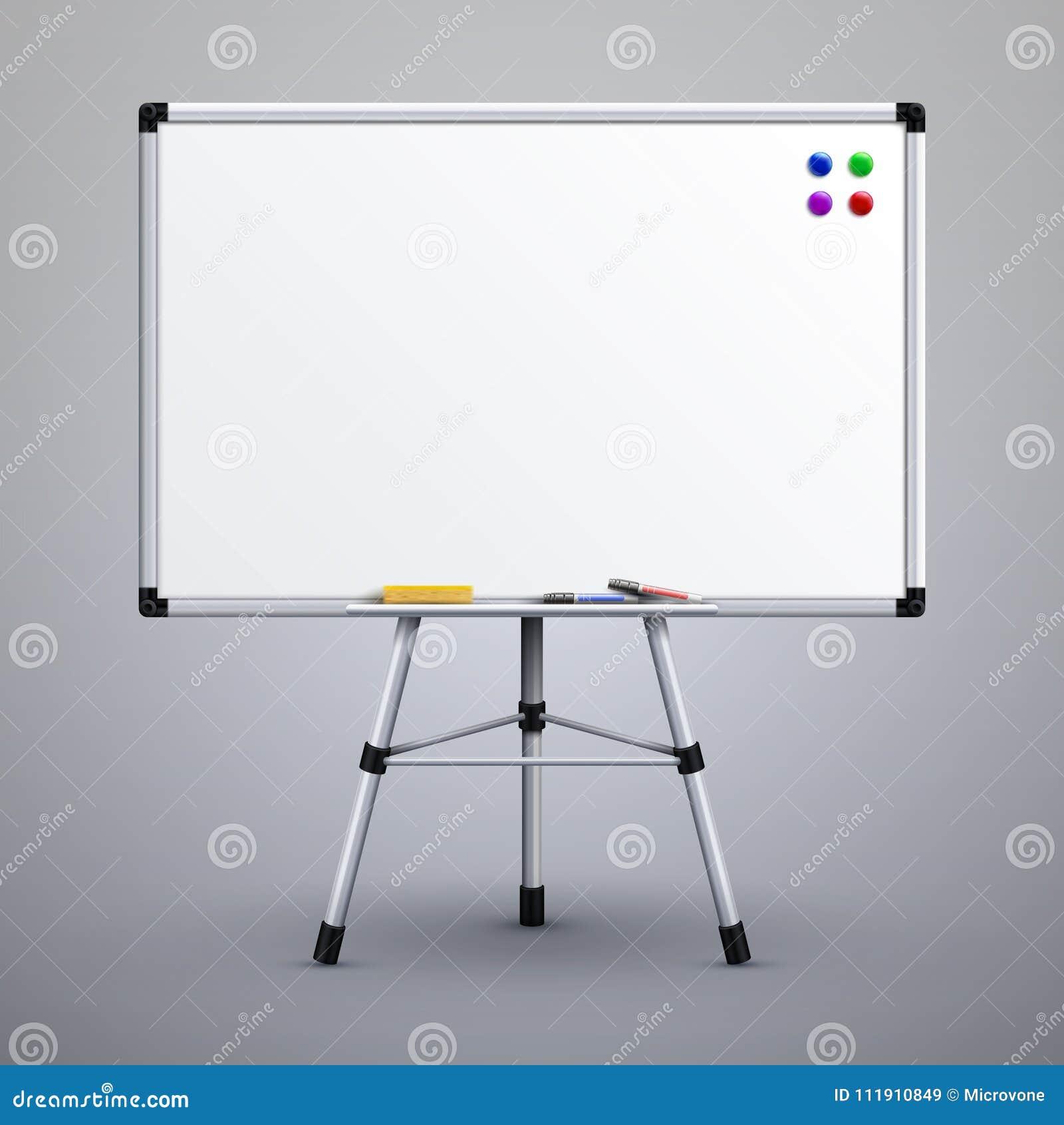 tableau blanc de pr sentation de bureau sur le tr pied illustration blanche de vecteur du. Black Bedroom Furniture Sets. Home Design Ideas