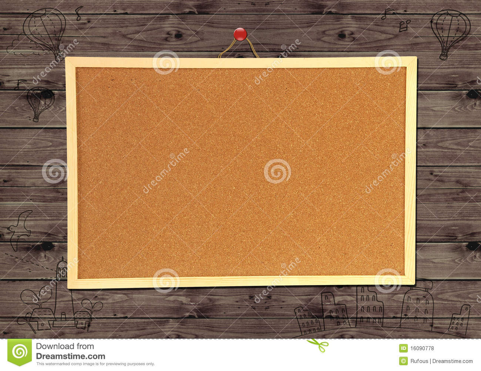 tableau d 39 affichage de li ge sur le mur en bois photos. Black Bedroom Furniture Sets. Home Design Ideas