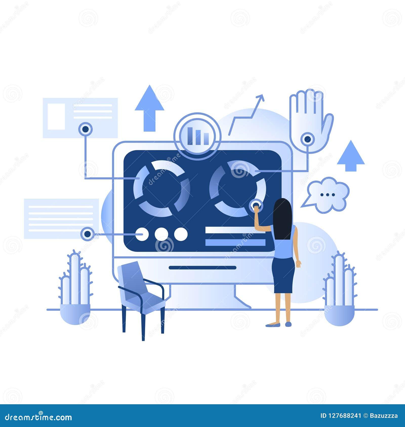Tableau de bord à la maison futé d IP d écran bleu de future technologie de contact de vecteur
