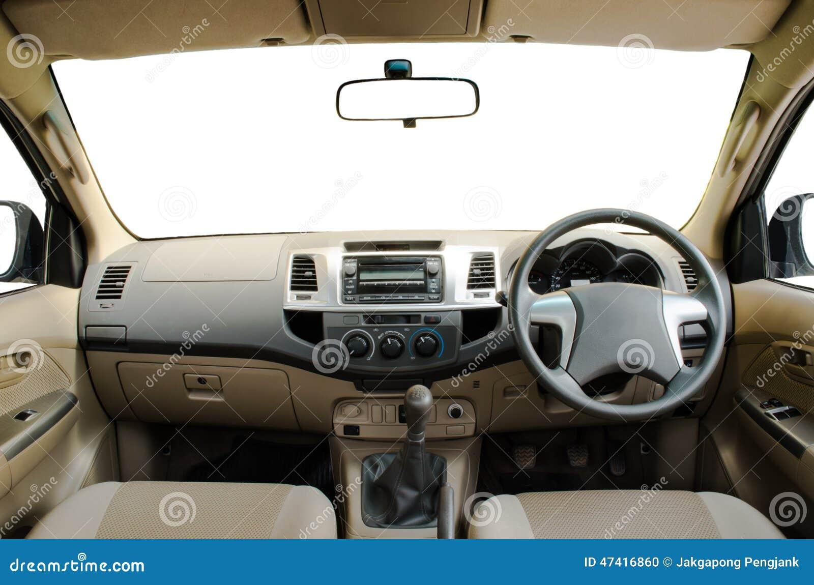 Tableau de bord en cuir beige de voiture photo stock for Interieur de voiture en cuir