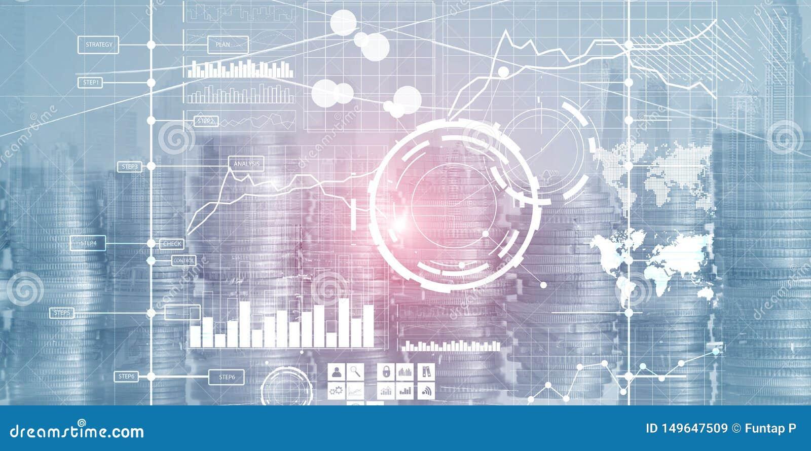 Tableau de bord et diagrammes d intelligence d interface d affichage Indicateurs de jeu clé financiers