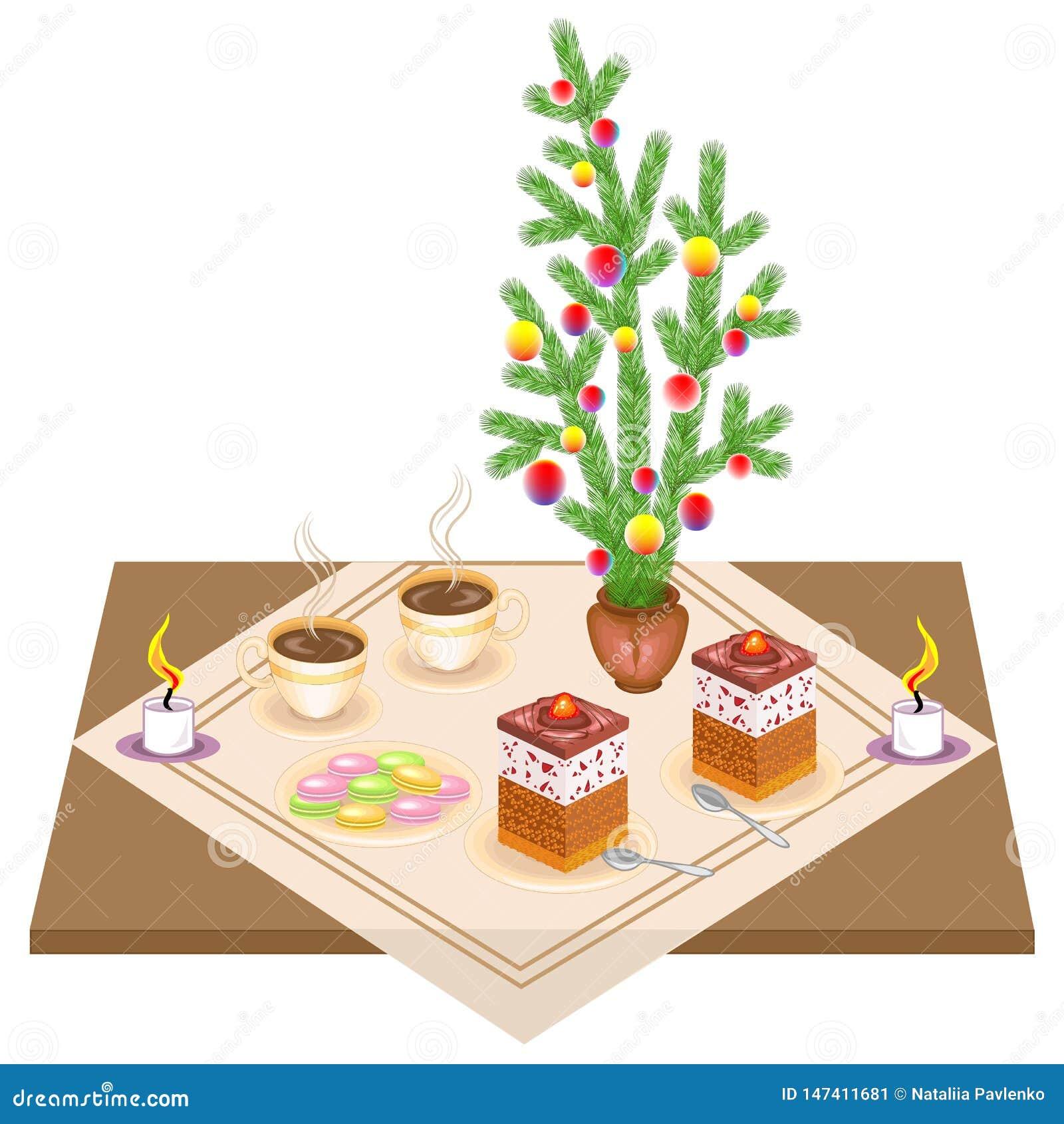 Tableau de f?te Bouquet de nouvelle année de l arbre de Noël Gâteau et thé délicieux Les bougies donnent une humeur romantique Il
