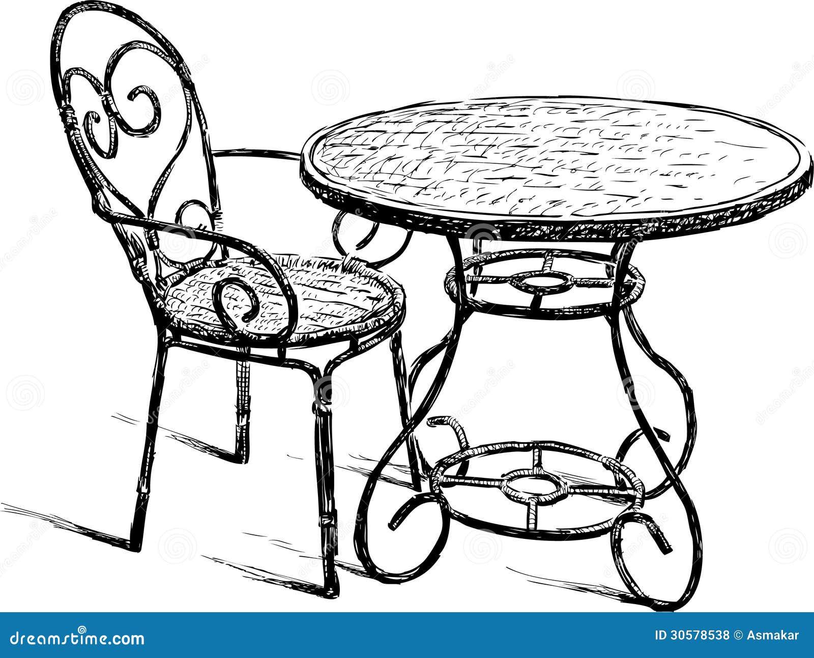 Tableau et chaise photos libres de droits image 30578538 - Dessiner une table de jardin ...