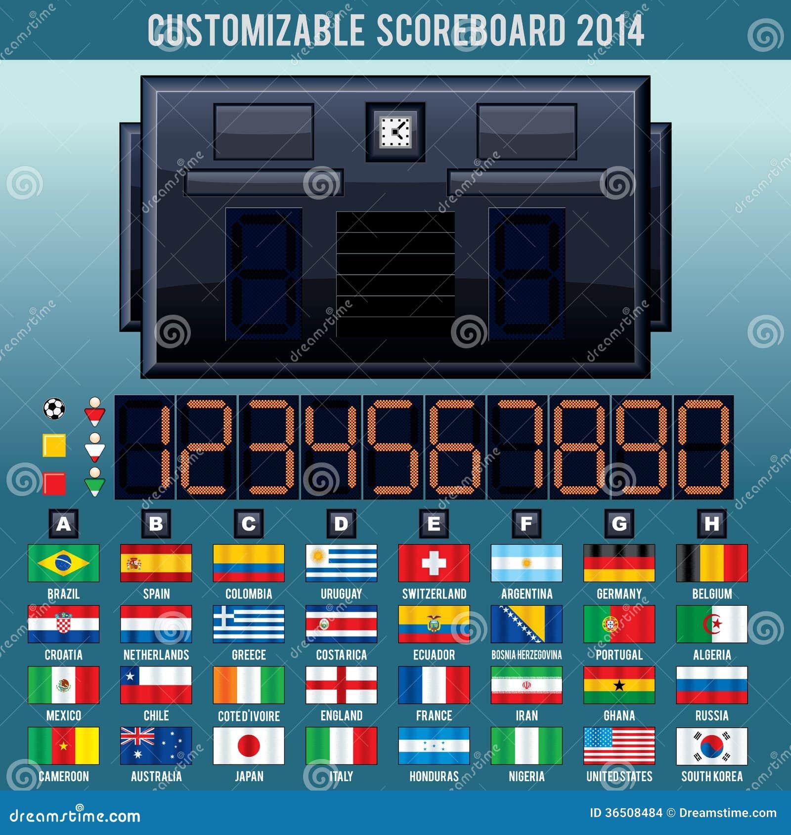 Tableau indicateur de coupe du monde du football. Kit de vecteur