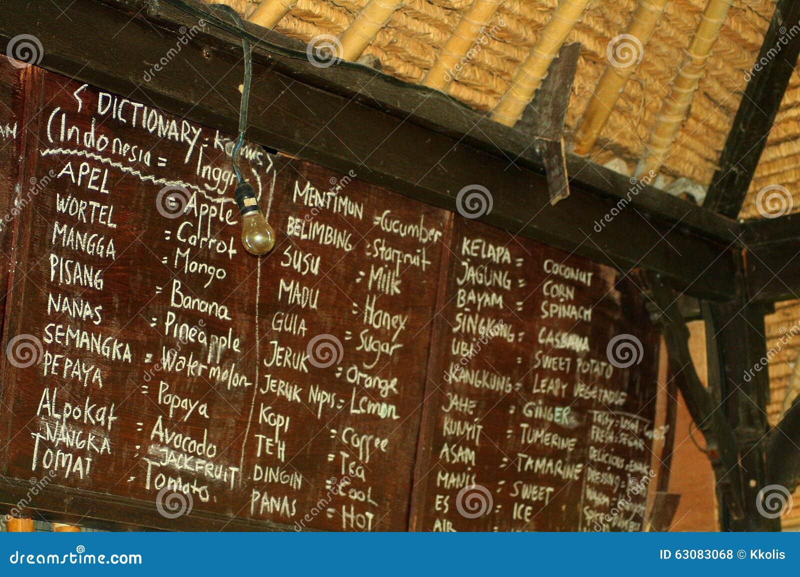 Download Tableau Noir Avec La Traduction Balinese-anglaise Photo stock - Image du étranger, gingembre: 63083068