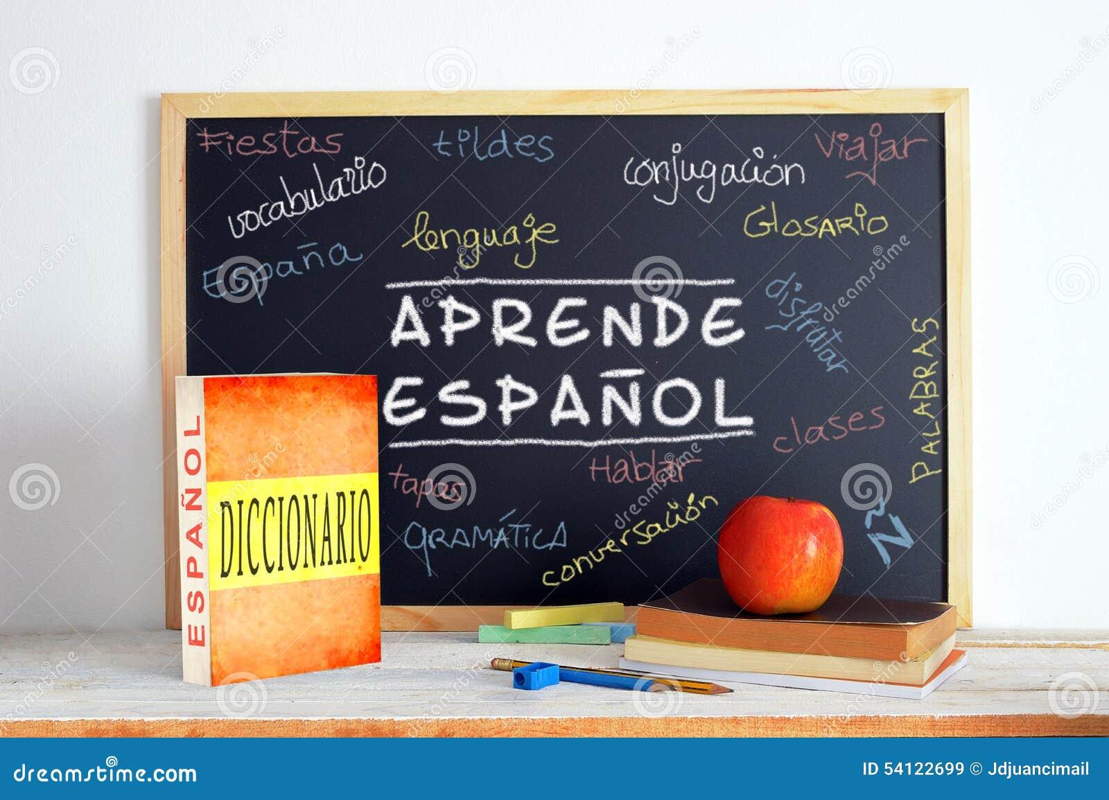 Tableau Noir Dans Une Classe De Langue Espagnole Image Stock Image Du Noir Espagnole 54122699