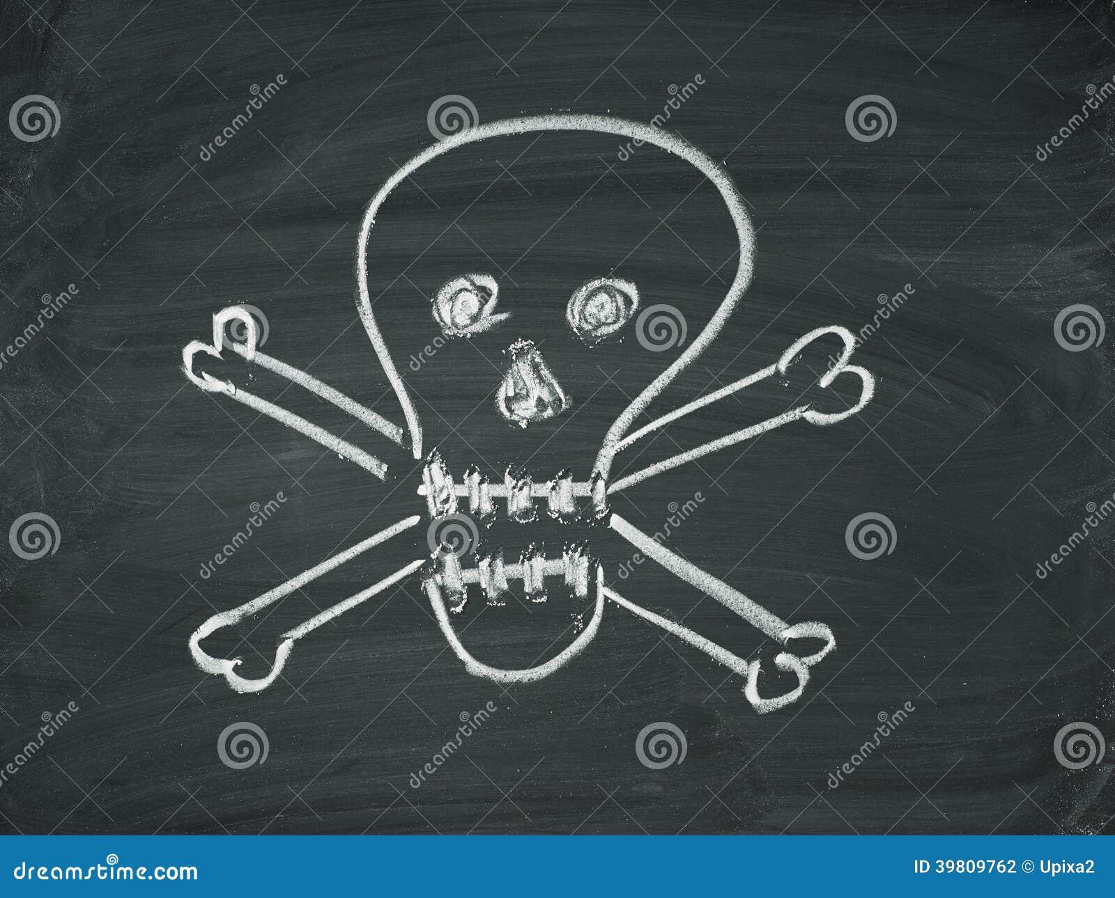 Tableau noir de craie de cr ne de la mort illustration for Tableau noir craie