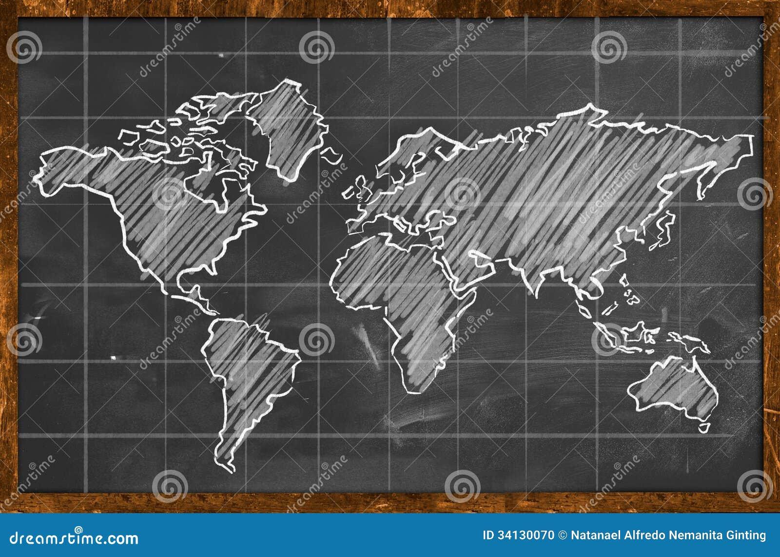 Tableau noir de dessin de craie de carte du monde photo for Tableau noir craie