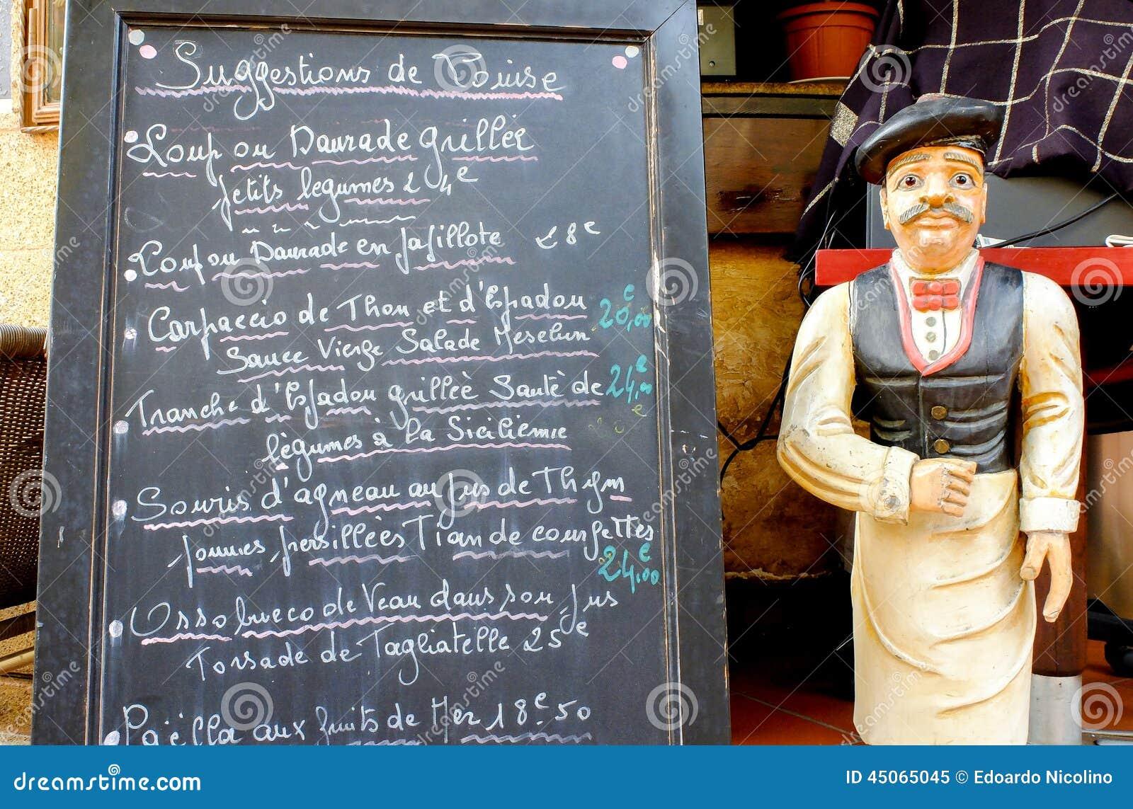 Tableau noir de menu avec le serveur photo stock image for Tableau noir restaurant