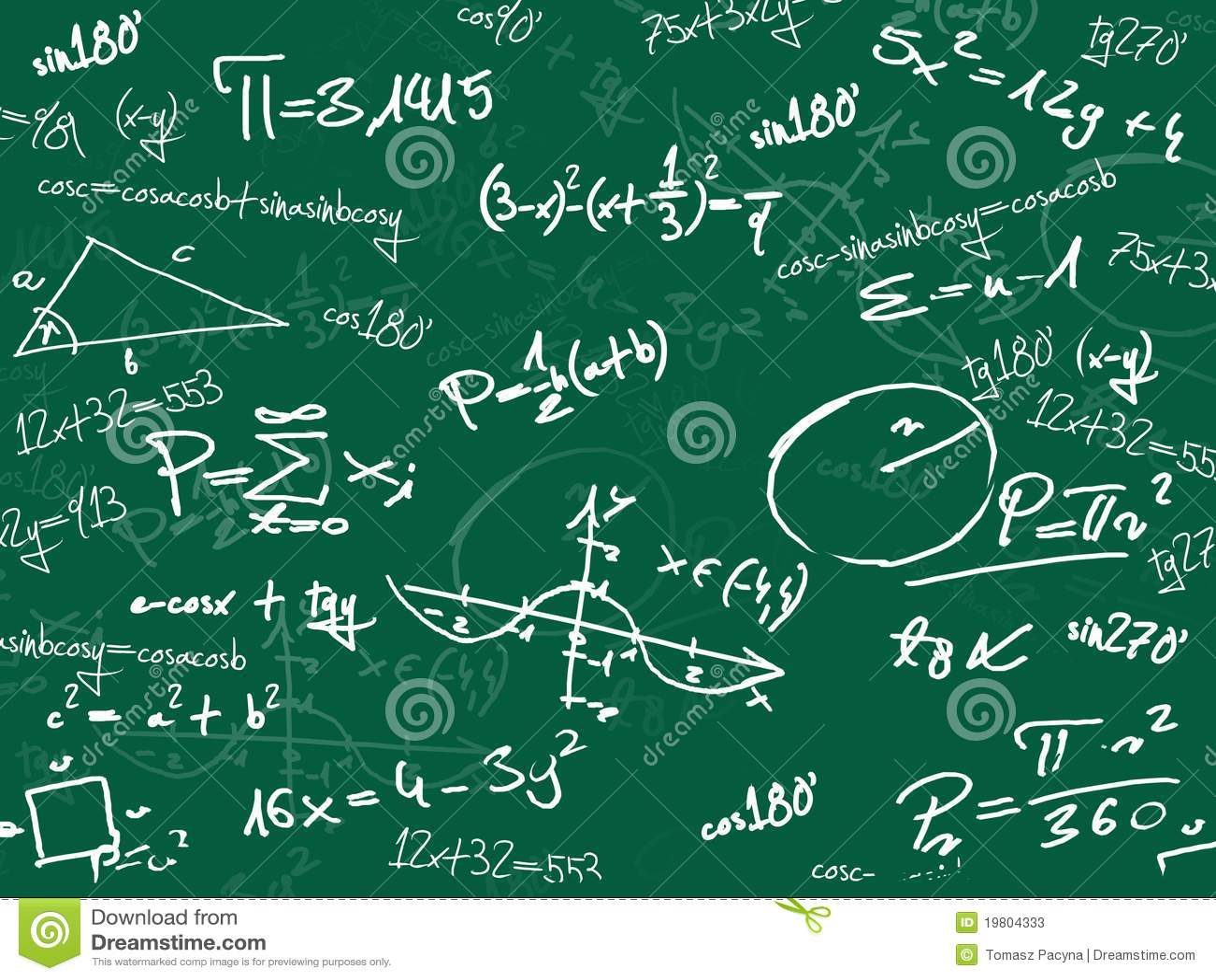 tableau noir vert d 39 cole de maths photos stock image 19804333. Black Bedroom Furniture Sets. Home Design Ideas