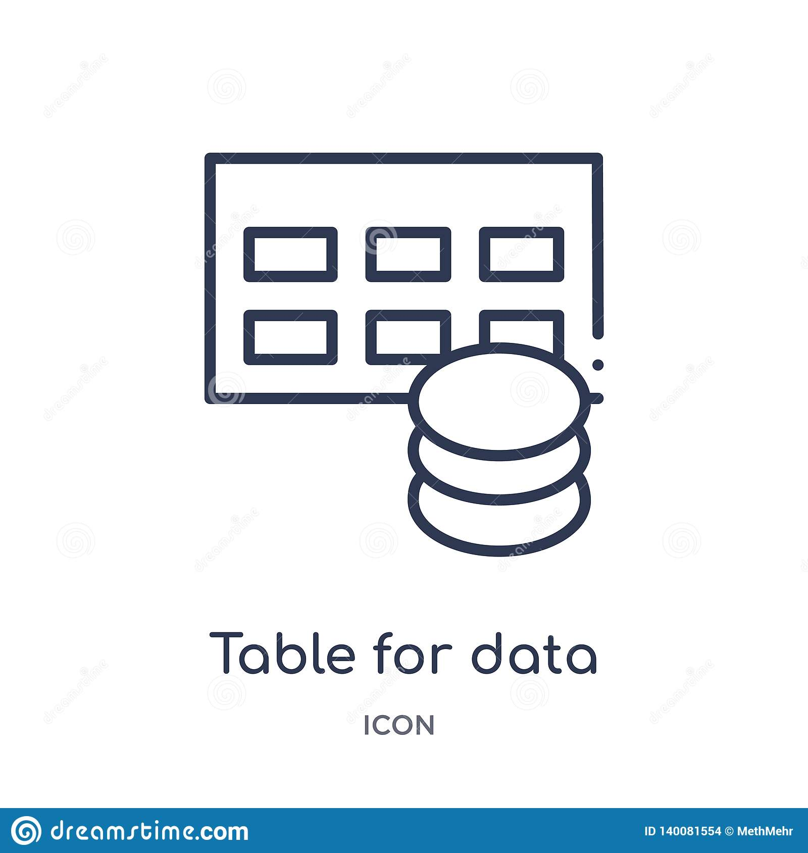 Tableau pour l icône de données du contour d interface utilisateurs