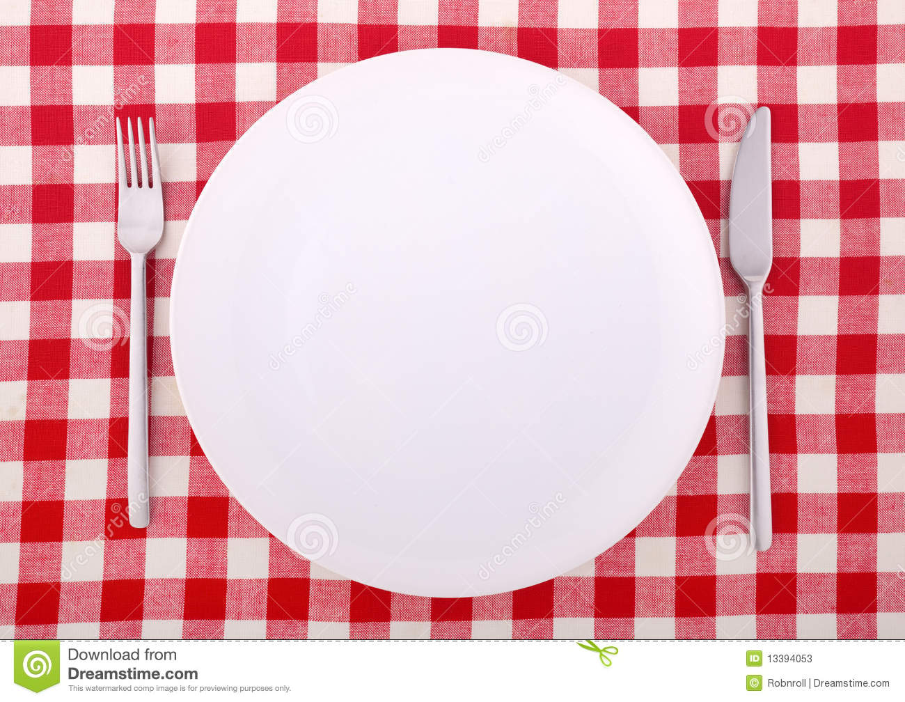 Tablecloth With Fork, Knife And An Empty Plate Stock Photos - Image ...