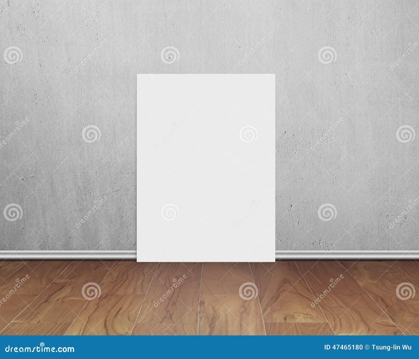 Tablero blanco en blanco con el muro de cemento en piso de madera foto de archivo imagen de - Tablero blanco ...