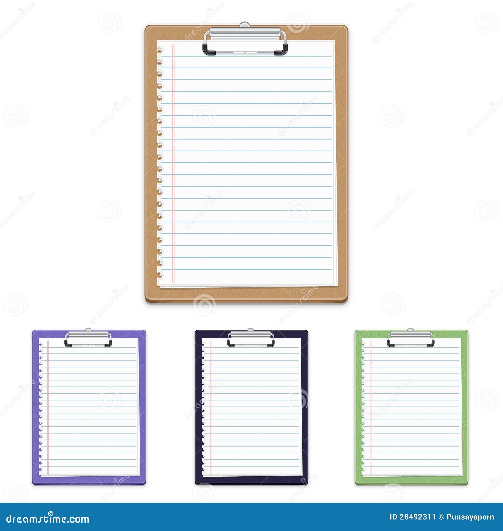 Tablero con el papel en blanco aislado en el fondo blanco