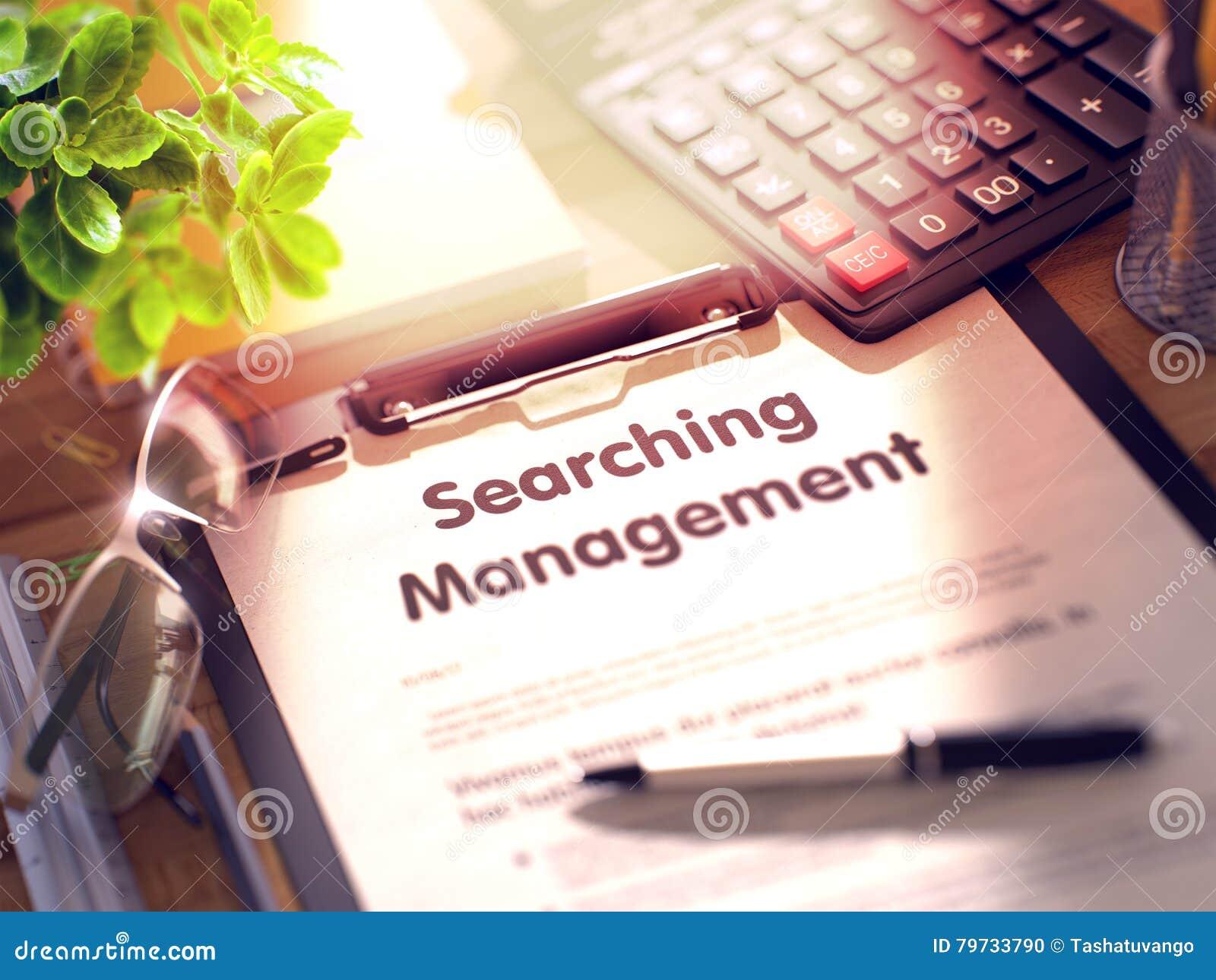 Tablero con la búsqueda de la gestión 3d
