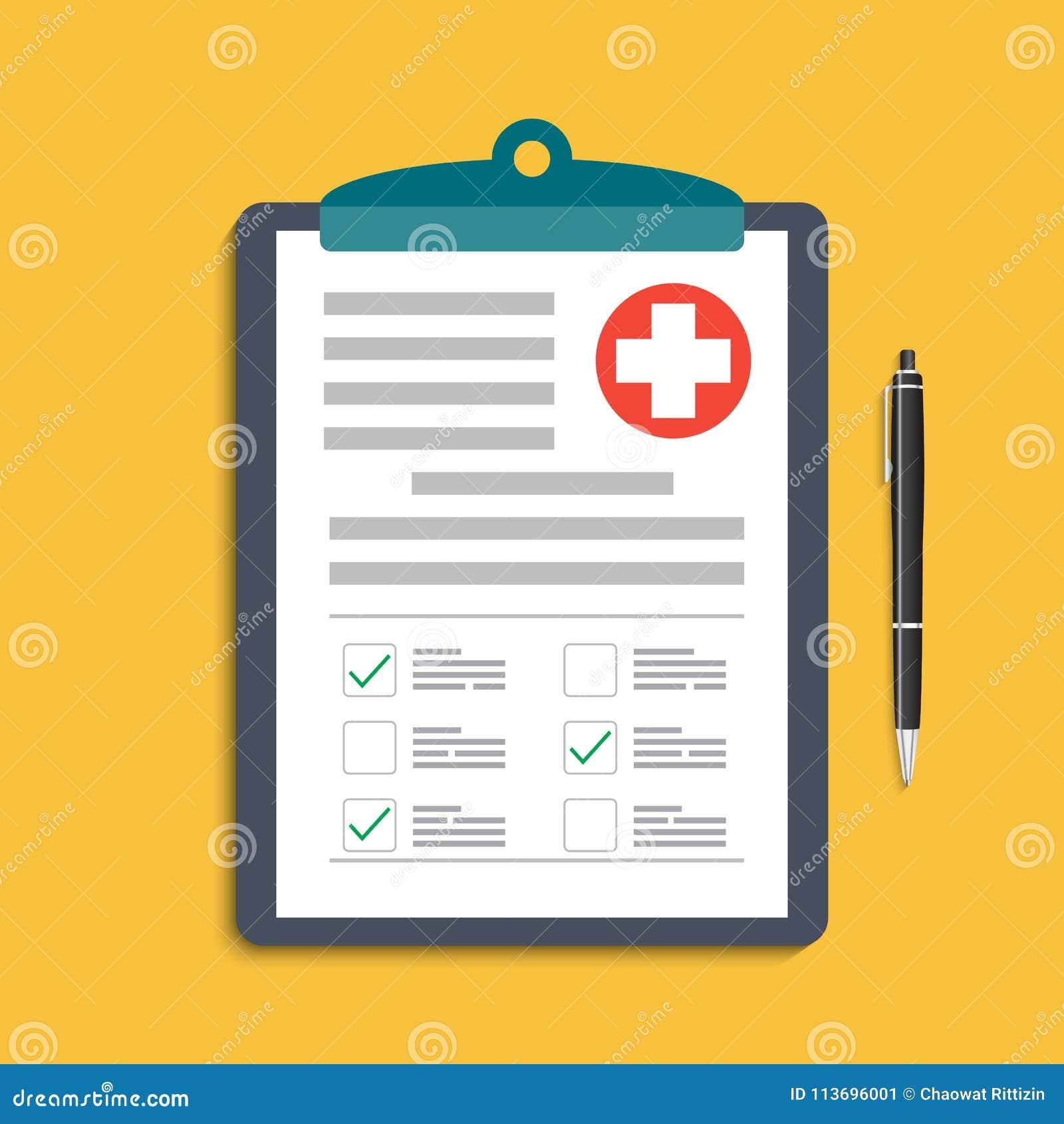 Tablero con la cruz y la pluma médicas Clínico expediente, prescripción, demanda, las marcas de verificación médicas divulgan, co