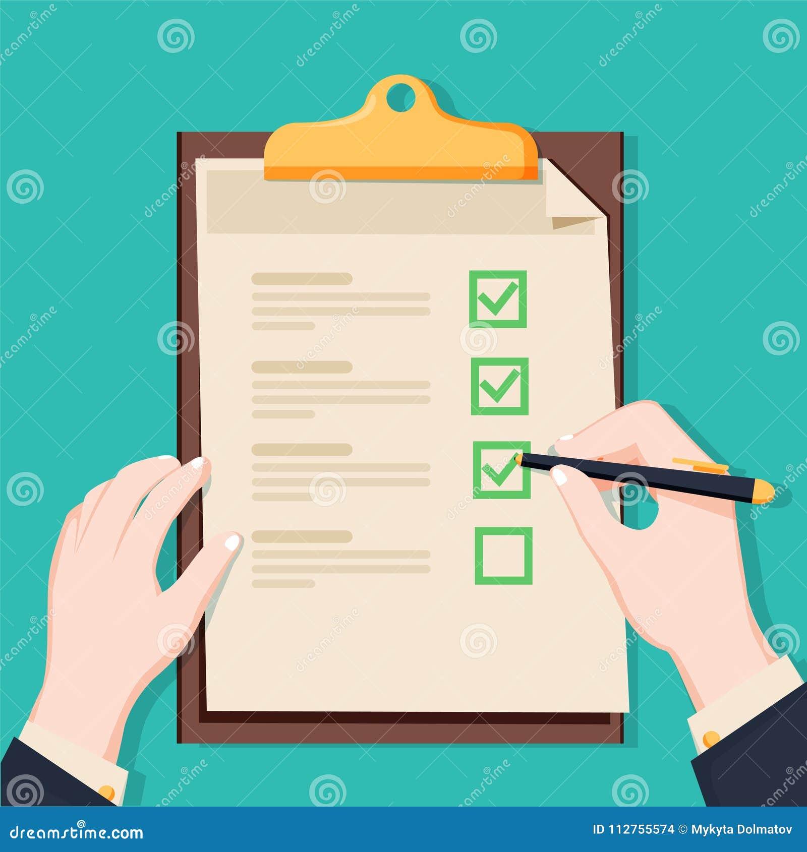 Tablero de la lista de control Lista de control y lápiz que se sostienen humanos Cuestionario, encuesta, ejemplo del vector de la