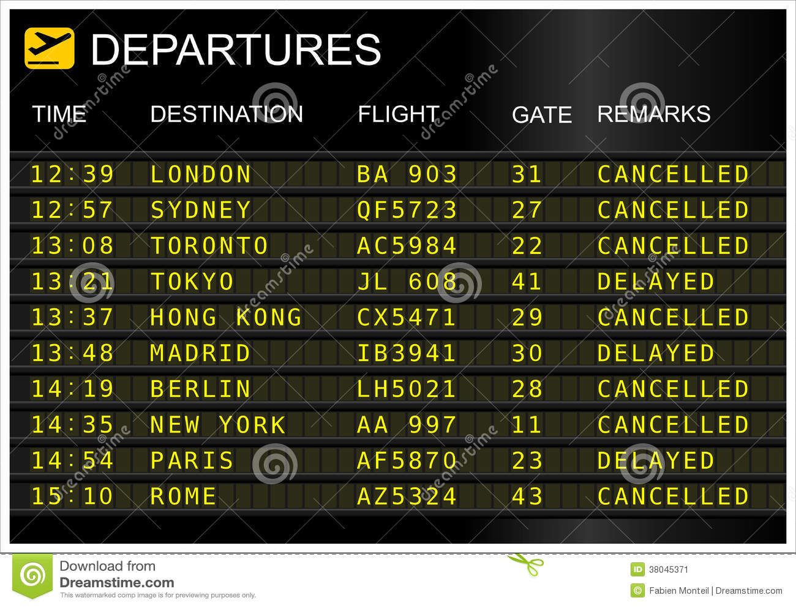 llegada de vuelos a: