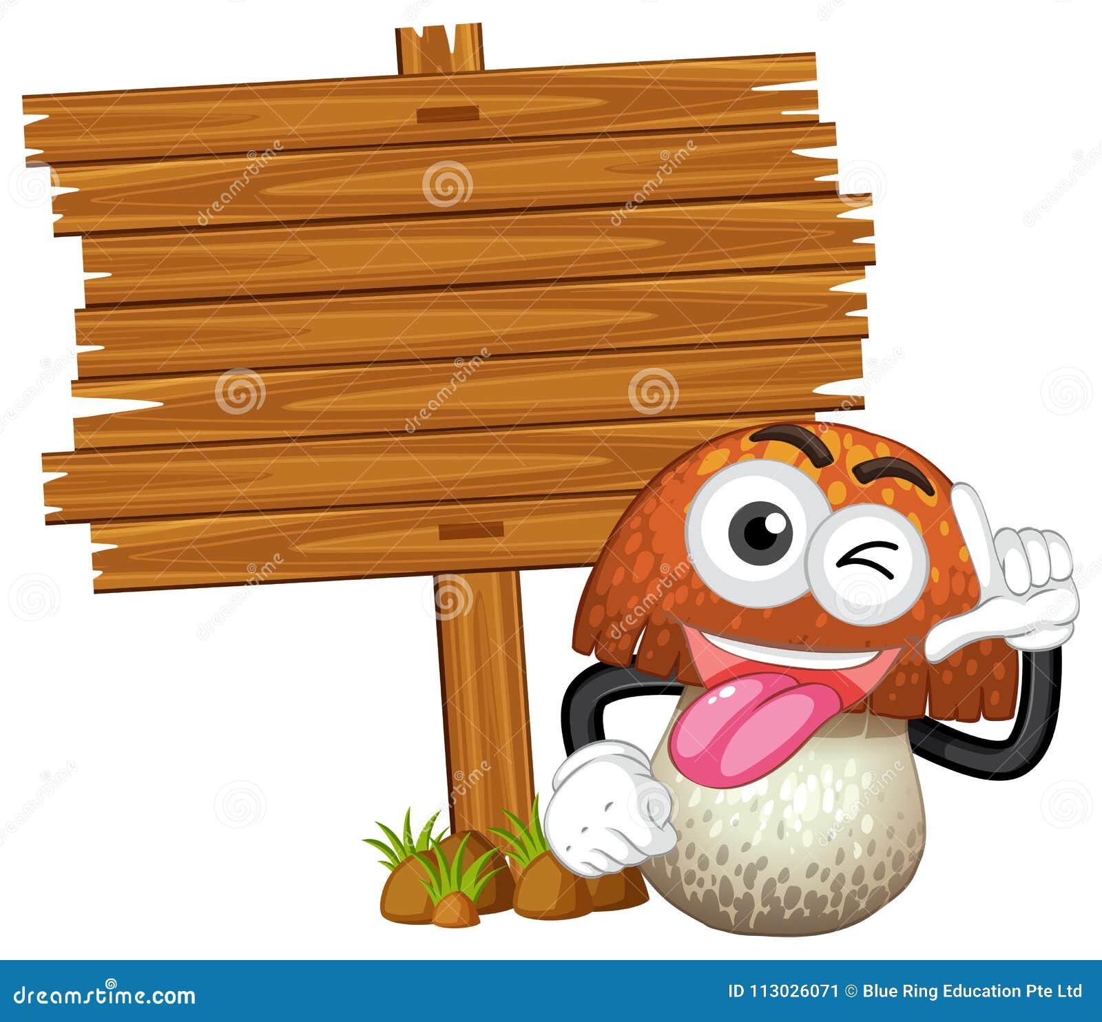 Tablero de madera con la seta linda