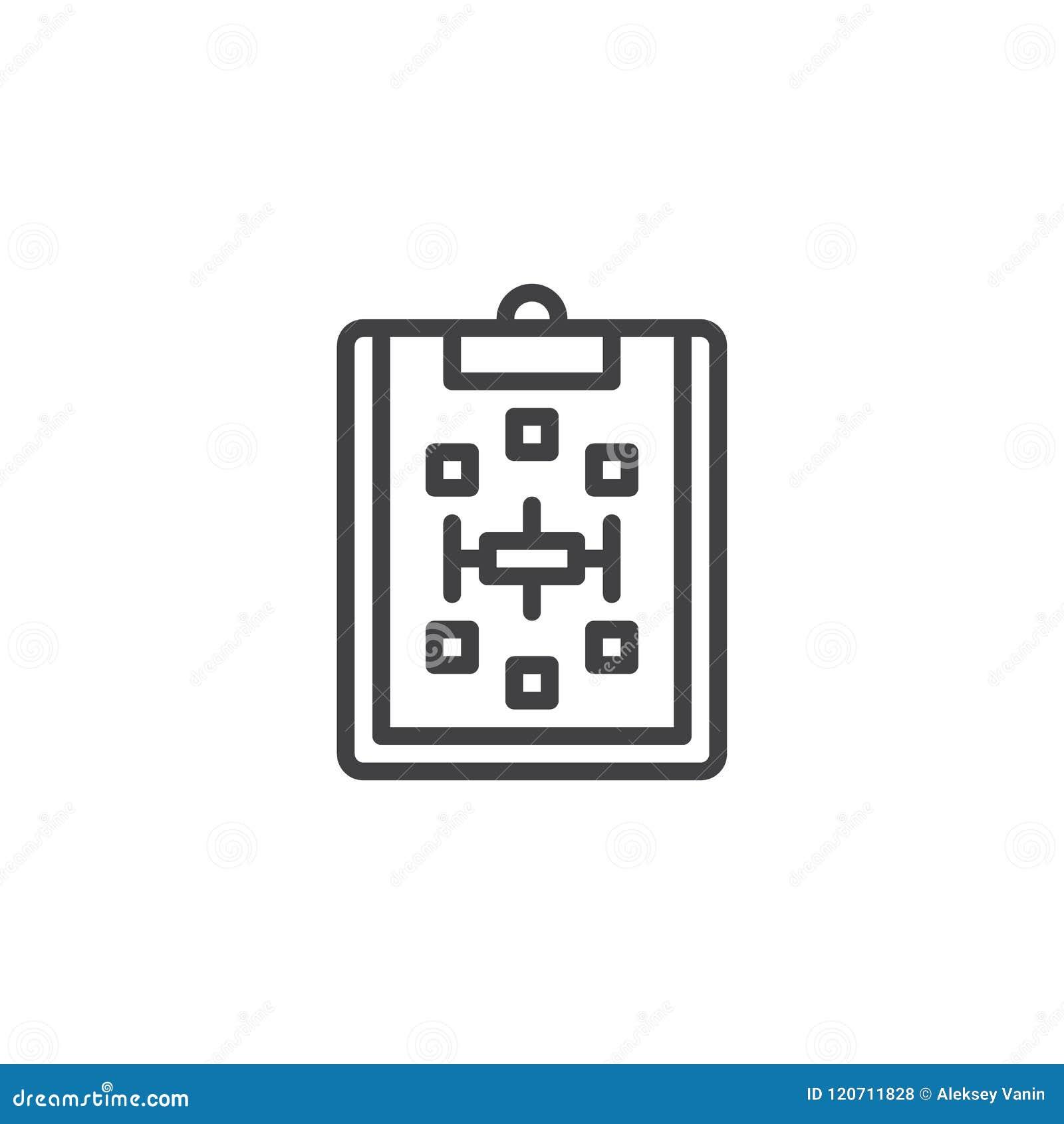 Tablero de papel con el icono del esquema del esquema