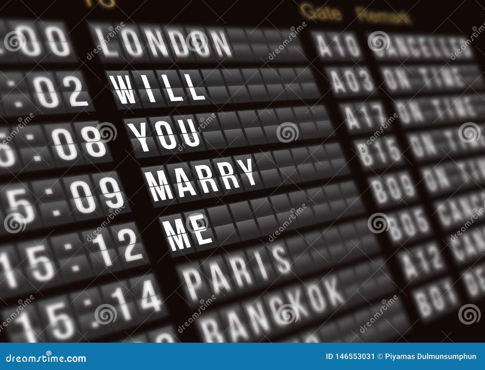 Tablero del vuelo de la salida con la propuesta de matrimonio de la sorpresa, concepto de la oferta