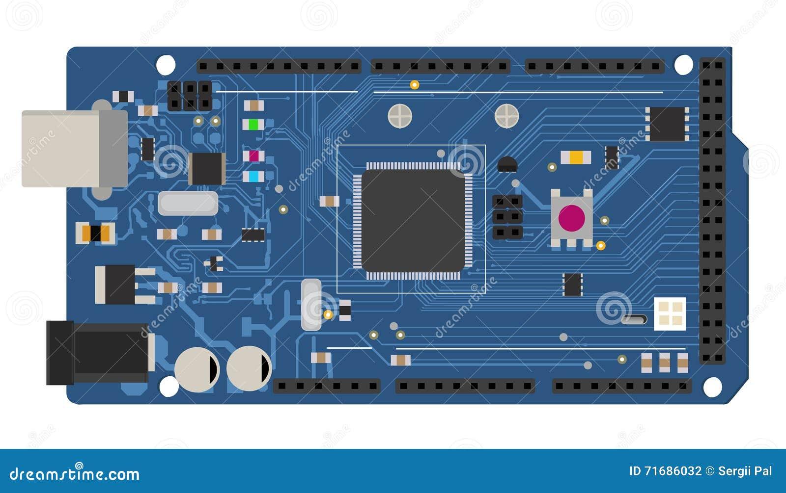 Tablero mega electrónico de DIY con un microcontrolador