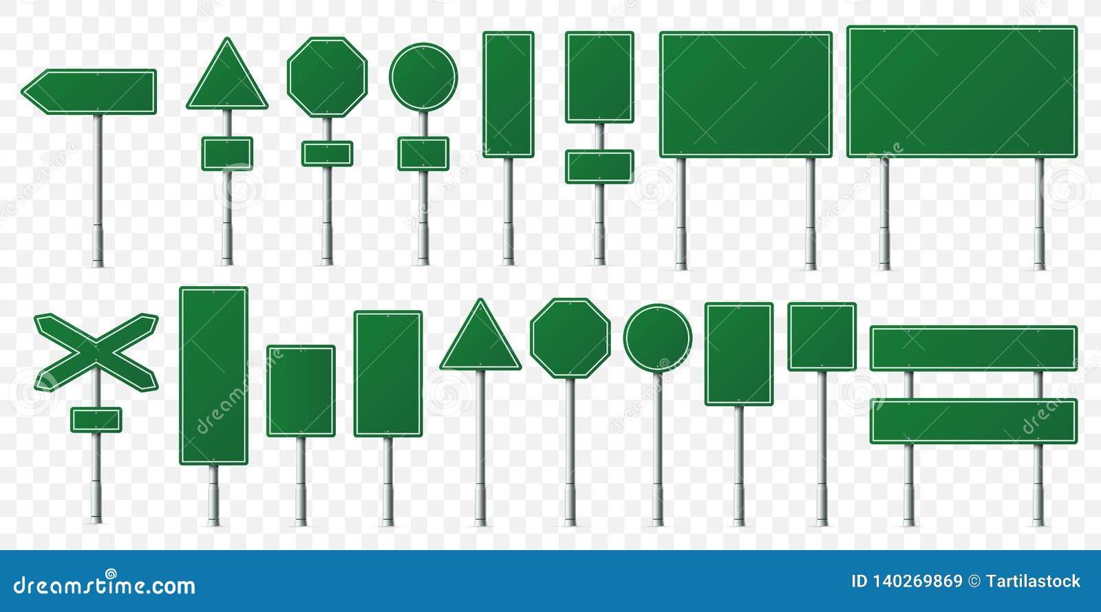 Tablero verde de la señal de tráfico Tableros de las señales de dirección en soporte del metal, el poste vacío del indicador y la