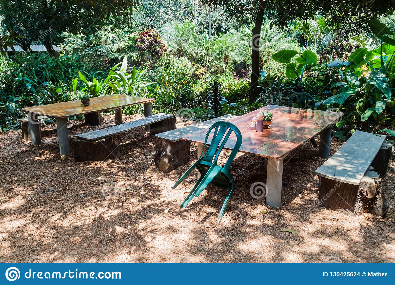 Tables And Benches At The Valhalla Experimental Station Macadamia Growing Farm In San Miguel Duenas Guatema Stock Photo Image Of Scenic Bench 130425624