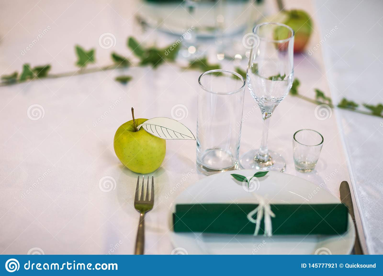 Apple Centerpiece On A Dinner Table Stock Image Image Of Plates Banquet 145777921